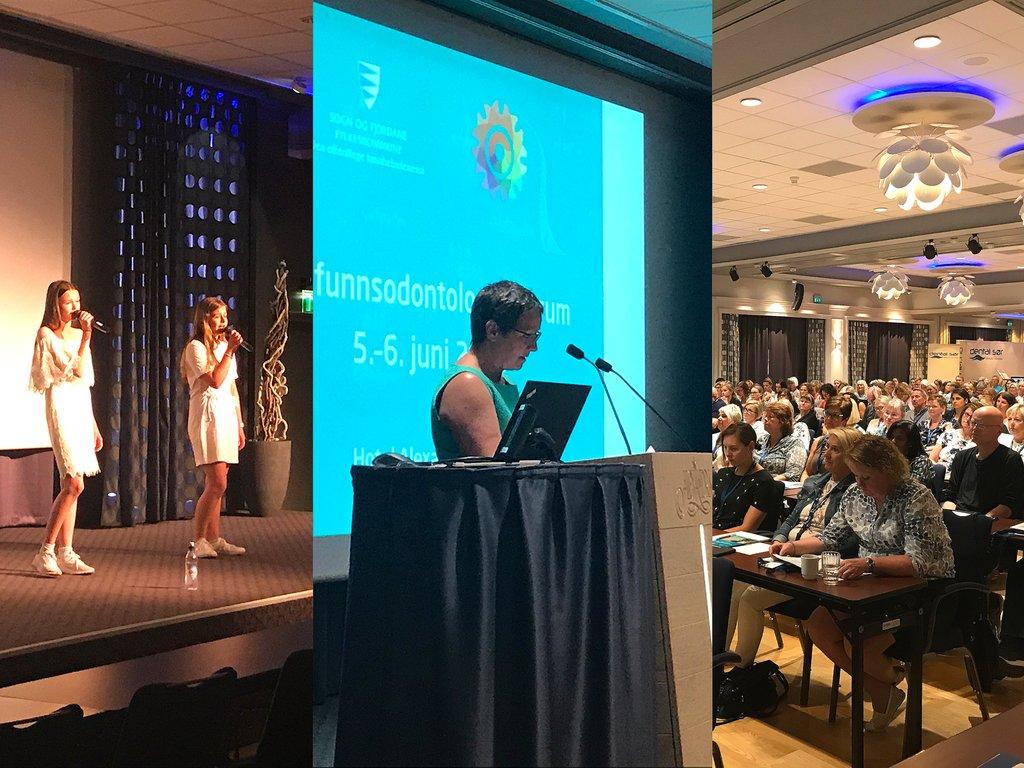 Samfunnsodontologisk forum på Hotel Alexandra. Tre bilete: Vilde og Anna på scenen, Karen Marie Hjelmeseter på talarstolen og utsyn over salen.