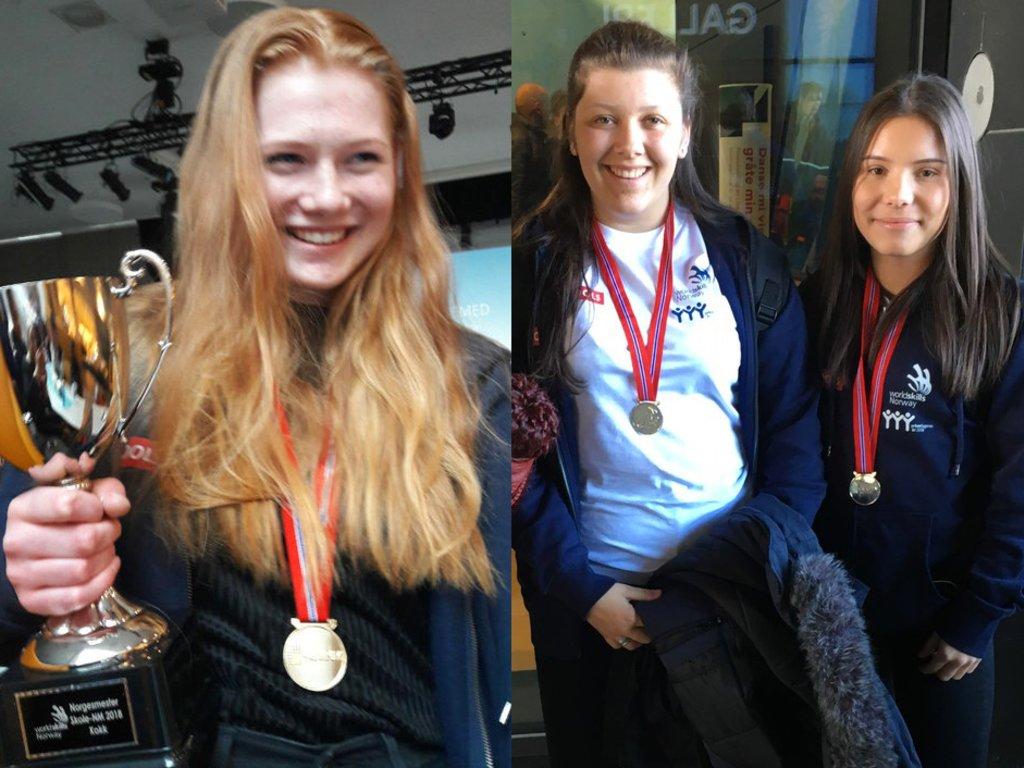 Medaljevinnarar frå Sogn og Fjordane i skule-NM yrkesfag: Amalie Grindedal, Martine Linde Hauglund, Johanna P. Utvær. Smilande elevar med medaljar.
