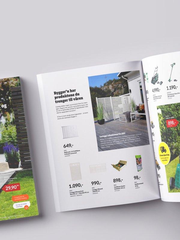 Byggern kampanjeblad vår 2020. Dame som sitter på terrasse på forsiden og oppslag som viser levegger og gressklipper.