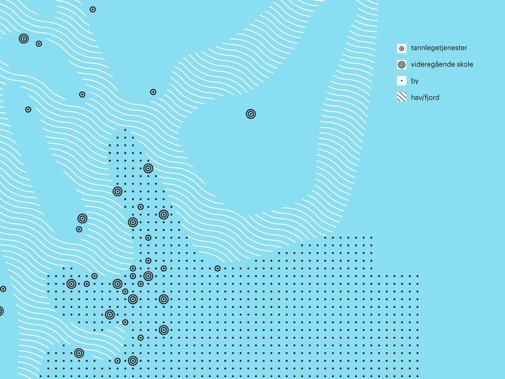 Illustrasjon frå den visuelle identiteten til Vestland fylkeskommune. Illustrasjonen har blå bakgrunn og visualiserer eit kart sett ovanfrå.
