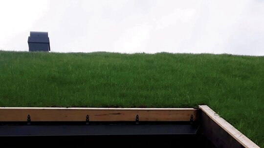 SOLFAKTOR: Et torvtak på hus eller hytte gir mange fordeler. − Du vil blant annet øke levetiden på tettemembranen på taket fordi det ikke utsettes for UV-stråling, sier Morten Sandbekklien hos Nittedal Torvindustri AS.
