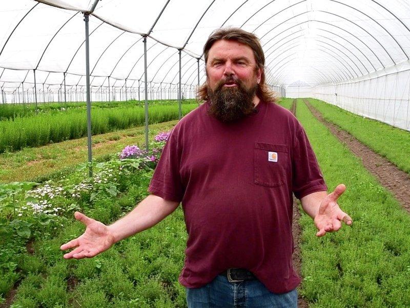 Lukter godt: Skjærgaarden gartneri dyrker urter på friland, i tillegg til vårløk.