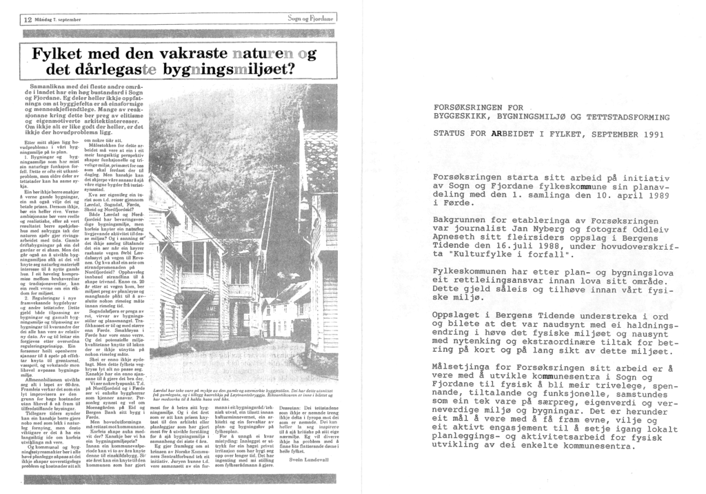 Utdrag frå dokument datert september 1991 om Forsøksringen for byggeskikk bygningsmiljø og tettstadsforming.