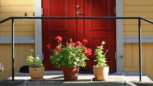 blommor framför ytterdörr