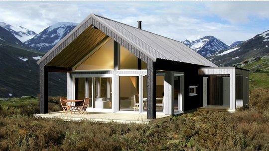HIBA HUS hytte i moderne stil med store vinduer på fjellet