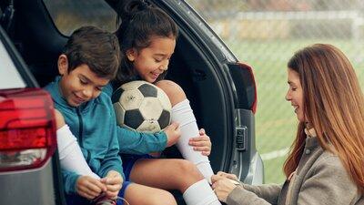 Barn till fotbollsträning