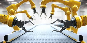 robot arms on conveyor belt.