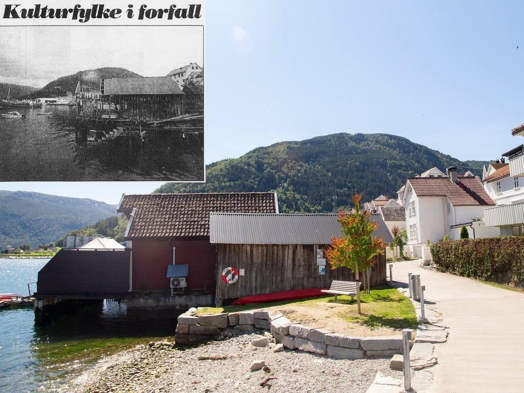 Fjordstien i Sogndal med sjøhus og benker i sol, saman med faksimile frå BT frå same stad 30 år før.