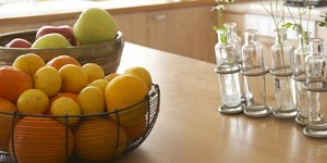 fruit in a basket on table