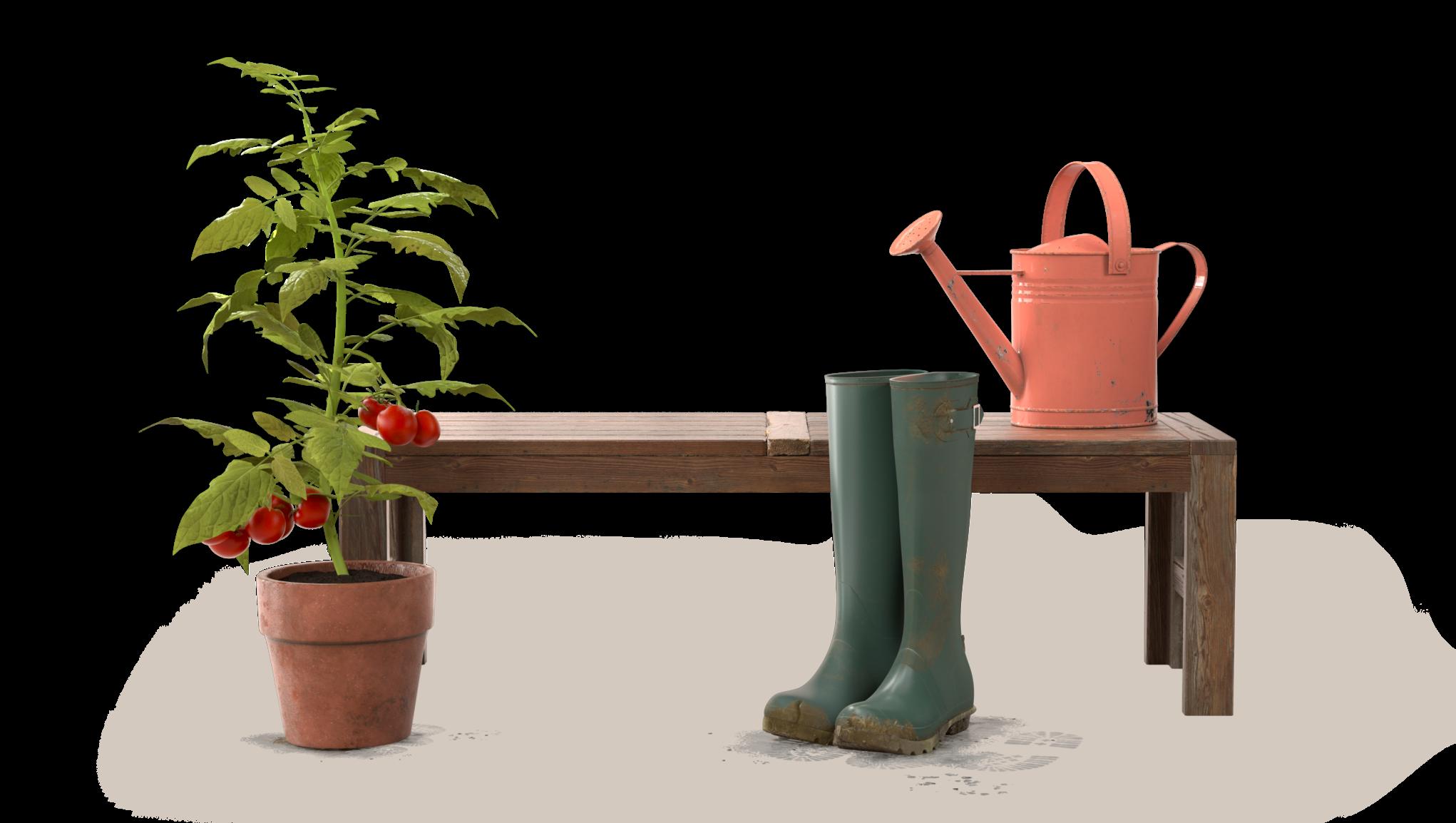 Trädgårdsredskap i fritidshuset