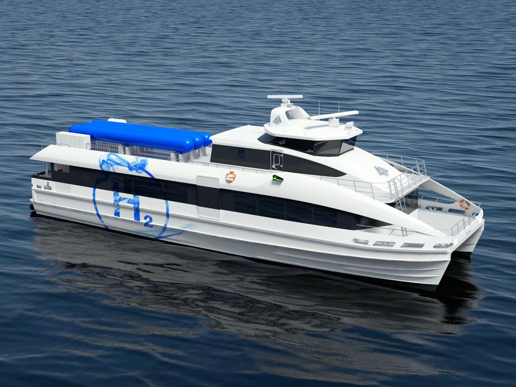 Illustrasjon av ein hydrogendriven hurtigbåt. Båten er kvit, med eit blått H2-symbol på sida. Rundt båten ser vi berre sjø.