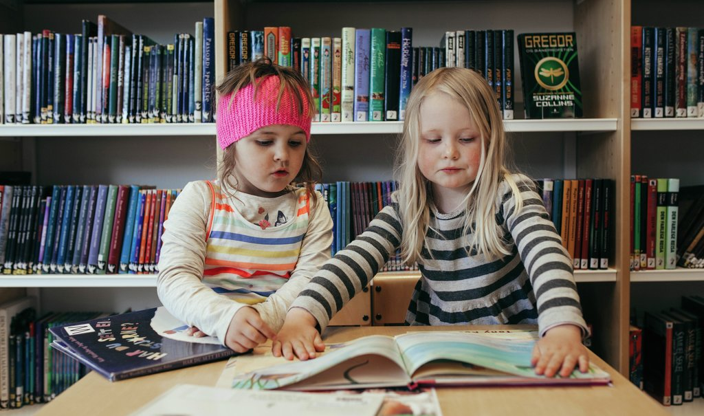 Jenter les i biblioteket
