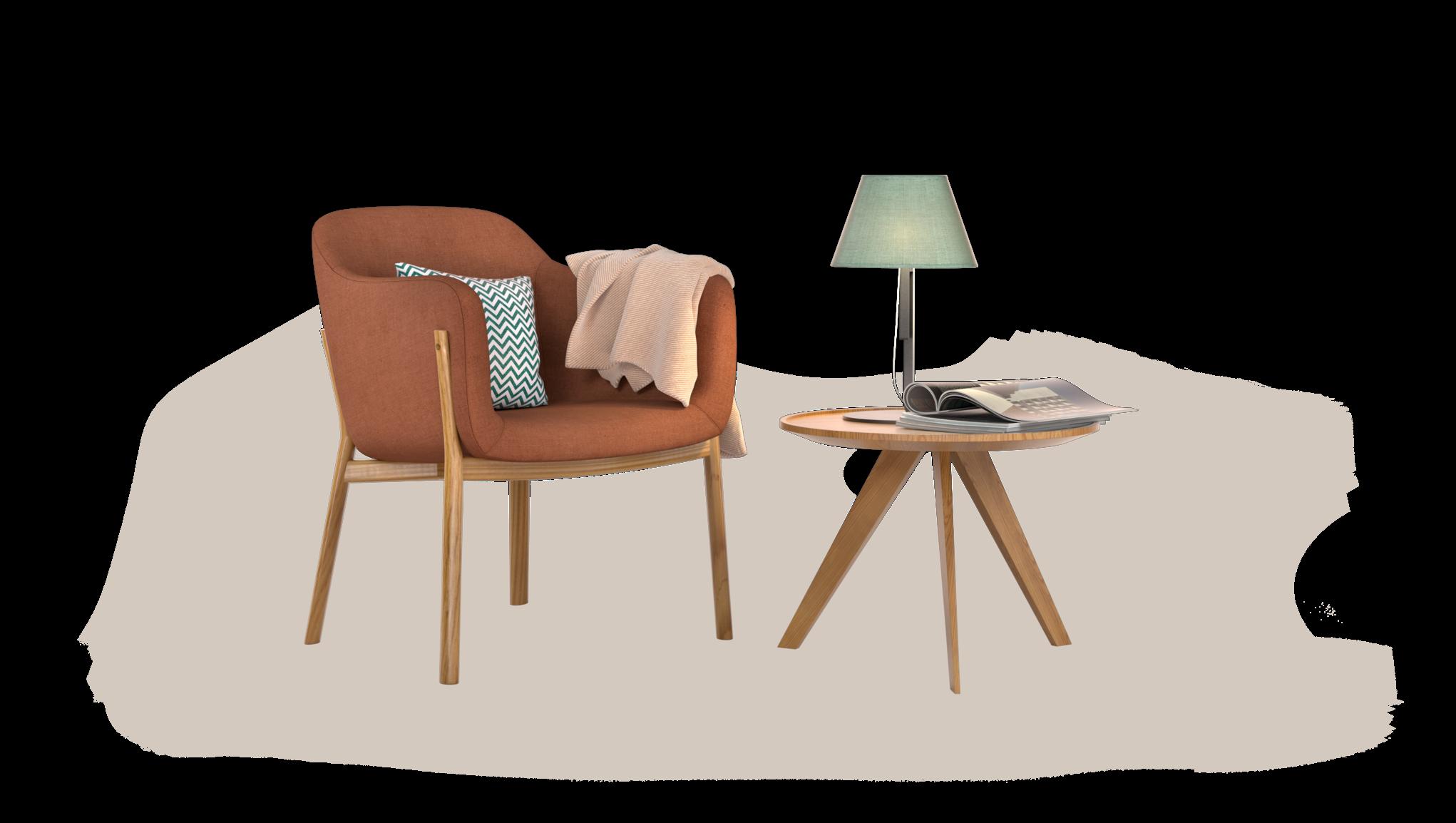 Lænestol og et bord med en lampe på