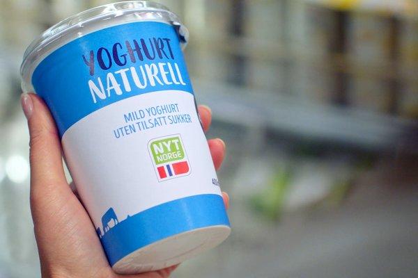 Yoghurt merket med Nyt Norge.