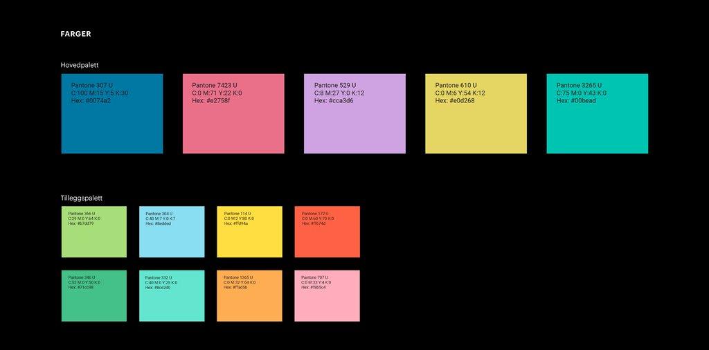 Illustrasjon som syner fargepaletten i den visuelle identiteten til Vestland fylkeskommune.