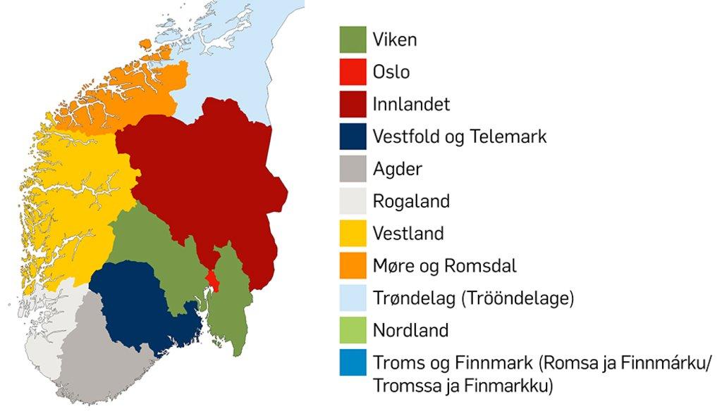 Kart over sør-Norge som viser den nye fylkesinndelinga gjeldande frå 2020