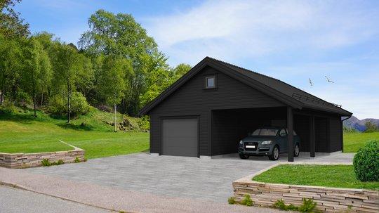 Sort garasje med carport og steinbelagt oppkjørsel