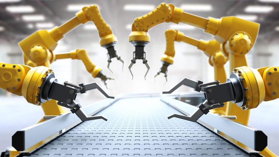 Robot hands working on conveyor belt