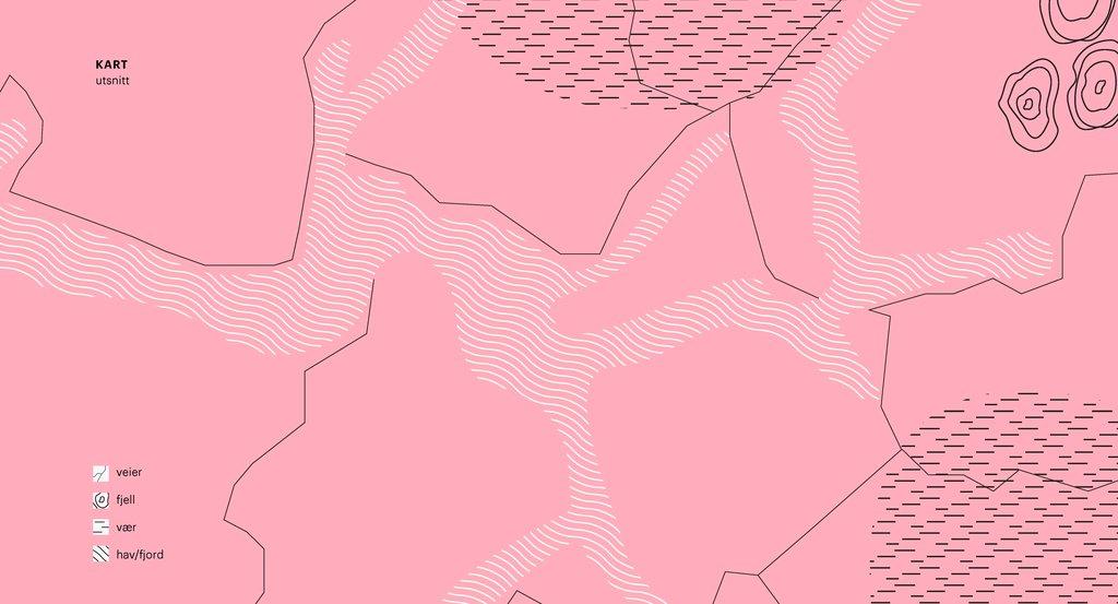 Illustrasjon frå den visuelle identiteten til Vestland fylkeskommune. Illustrasjonen har rosa bakgrunn og visualiserer eit kart sett ovanfrå.